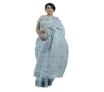 Sky Blue Cotton Tangail Jamdani Saree