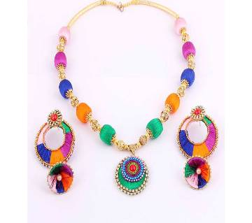 Multi color silk thread necklace with earrings