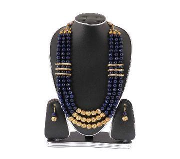 Navy Blue Marble Stone Setting Kashmiri Jewellery Set