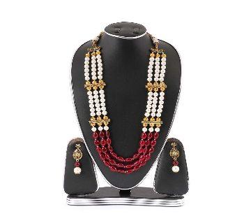 White & Red Real Pearls Setting Kashmiri Jewellery Set