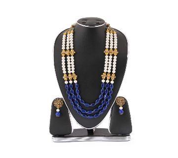 White & Navy Blue Real Pearls Setting Kashmiri Jewellery Set