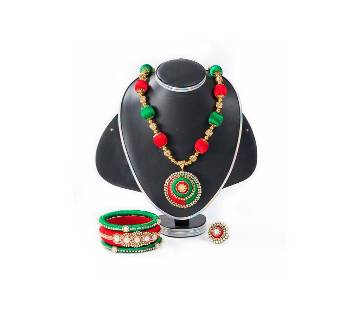 Red & Green  Color Silk Jewelary set