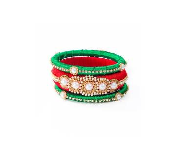 Red & Green  Color Silk Bangle set