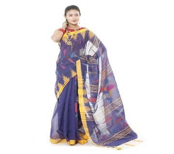 Tassel Setting Purple Color Monipuri Tant Saree Blouse Included