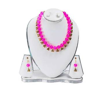 Pink Colour Artificial Pearl Jewellery Set