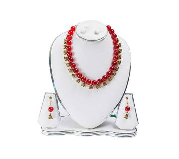 Red Color Artificial Pearl Jewelry Set