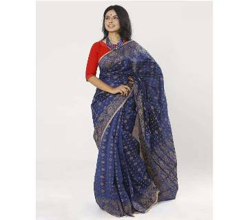 Deep Cove Color Half Silk Tangail Jamdani Saree For Women