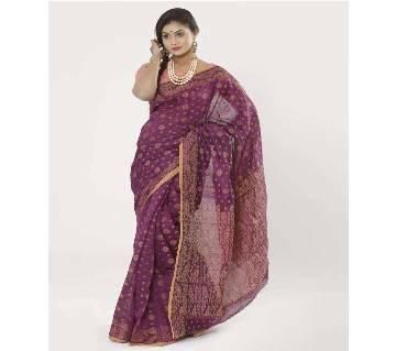 Megenta Color Half Silk Tangail Jamdani Saree