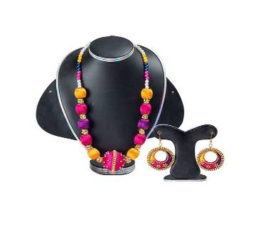 Multi Color Silk Thread Necklace & Earring
