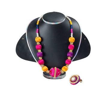 Multi Color Silk Thread Necklace & Finger Ring