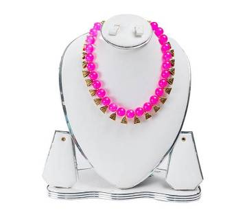 Pink Color Artificial Pearl Necklace