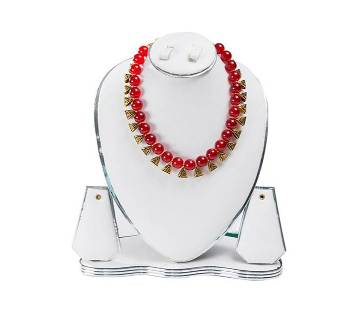 Red Color Artificial Pearl Necklace