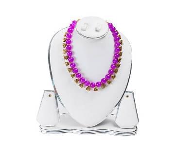 Magenta Color Artificial Pearl Necklace