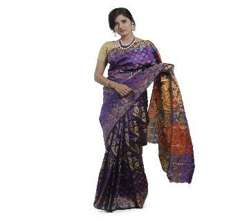 Purple Color Tangail Silk Jamdani Saree