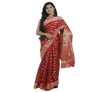 Red Cotton Tangail Jamdani Saree