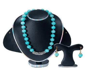 Blue Colour Marble Stone  Setting Jewelry Set