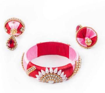 Multi Color Silk Thread Bangle & Earring