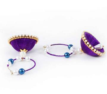 Purple Color Silk Thread Earring