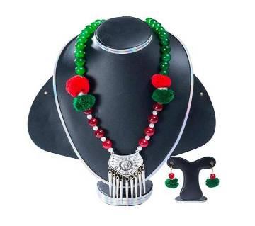 Muti Color Stone Pearl Setting Jewellery Set