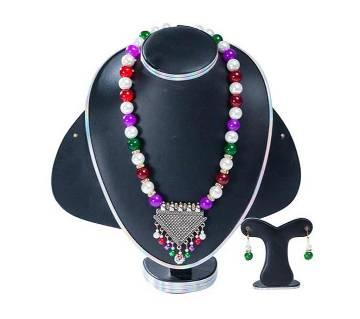 Multi Color Stone Pearl Setting Jewelary Set