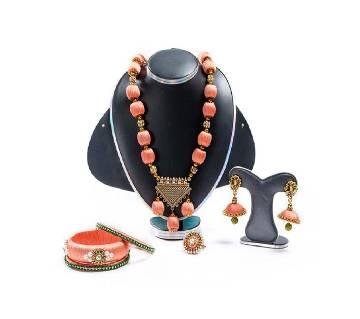 Light Pink Silk Thread Jewellery Set