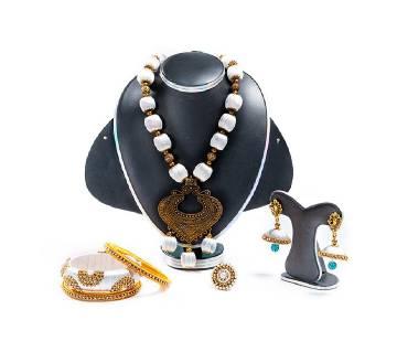 White Color Silk Thread Jewellery Set