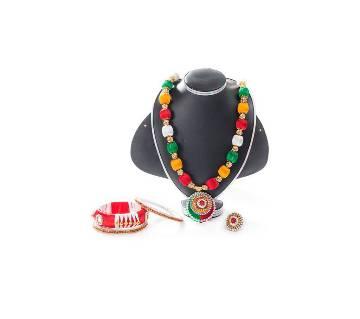 Multi Colour Silk Thread Jewellary Set