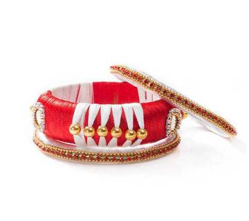Red & White  Color Silk Thread Bangle set