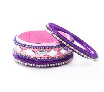 Hot Pink Color Silk Thread Bangle set