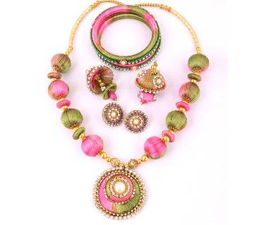 Multi color silk yarn jewellery set