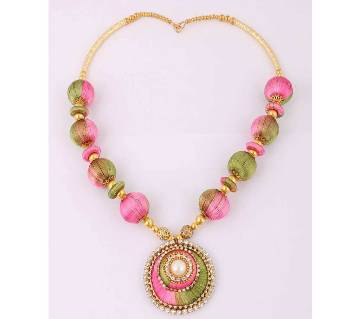 Multi color silk yarn necklace