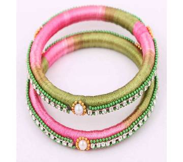 Multi color silk yarn bangles