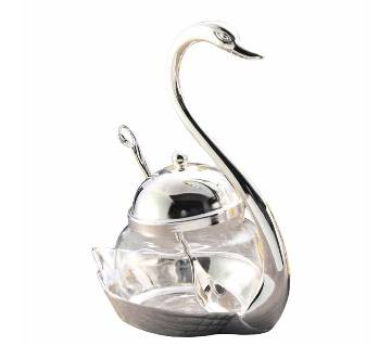 swan sugar bowl spoon set