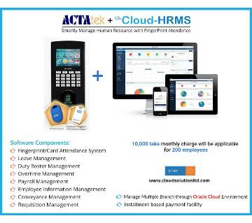 Cloud-HRMS with Fingerprint (200 emp)