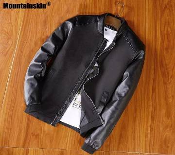 Artificial Leather Jacket For Man-Black