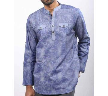 Light Blue Printed Cotton Katua ফর মেন