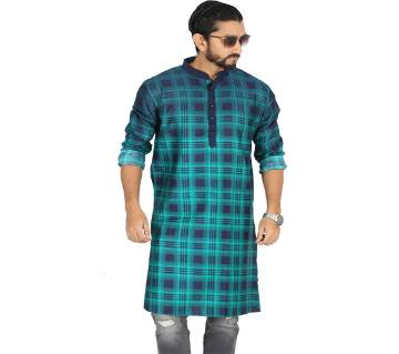 Light Green Printed Cotton Panjabi For Men