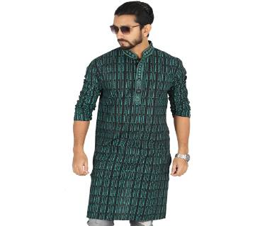 Green Printed Printed Cotton Panjabi For Men
