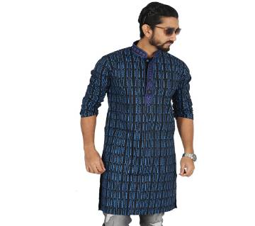 Blue Printed Cotton Panjabi For Men