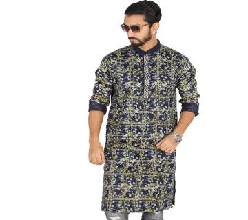 Black Printed Cotton Panjabi For Men