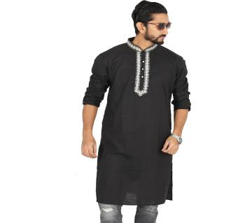 Black Solid Cotton Panjabi For Men