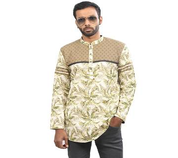 Green Printed Cotton Katua For Men