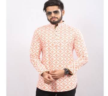 Orange Printed Pure Cotton Katua For Men