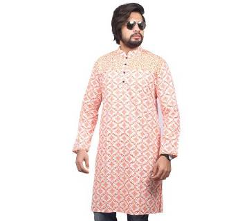 Orange Printed Cotton Panjabi For Men