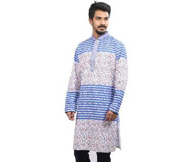 Blue and White Printed Cotton Panjabi For Men