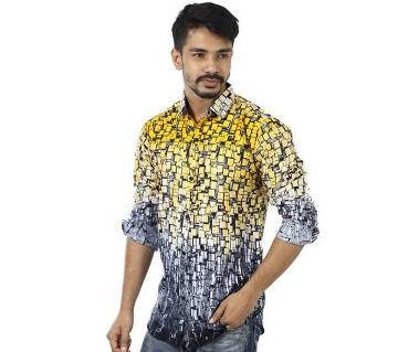 Yellow Printed Cotton Casual Full Sleeve Shirt For Men