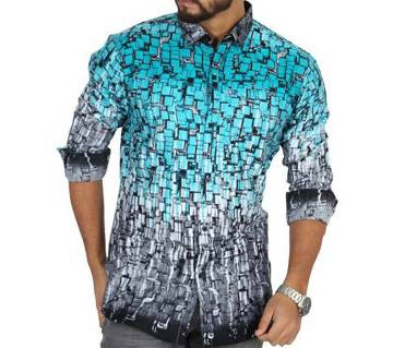 Blue Printed Cotton Casual Full Sleeve Shirt