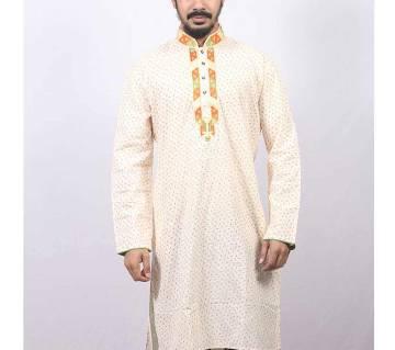 Off White Printed Cotton Panjabi For Men
