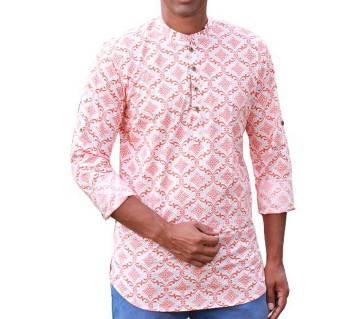 Mens Orange Printed Cotton Katua