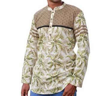 Mens Green Printed Cotton Katua